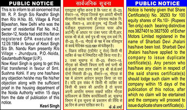 Public Notice Classified Display Ad